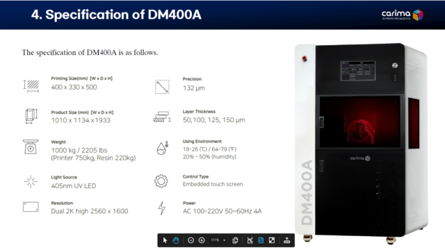 Aerosport Carima DM400A - Machine Specs